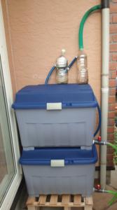 自作フィルターを取付けた雨水タンク